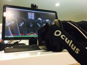 Virtual Reality headgear at Solstice Mobile (Xiumei Dong/MEDILL)